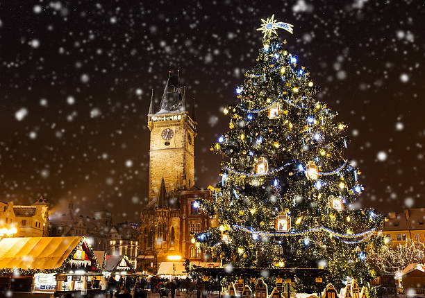 Christmas marketplace in Oldtown square, Prague Christmas marketplace in Oldtown square, Prague, Czech Republic czech culture stock pictures, royalty-free photos & images