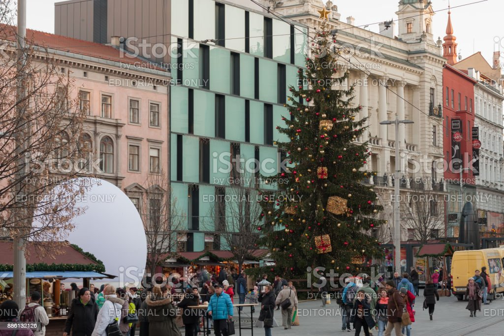 Christmas markets at Liberty Square in Brno stock photo