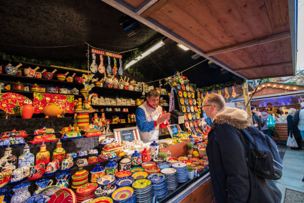 Christmas Markets in Albert Square near the Town Hall of Manchester in the nortwest of England stock photo