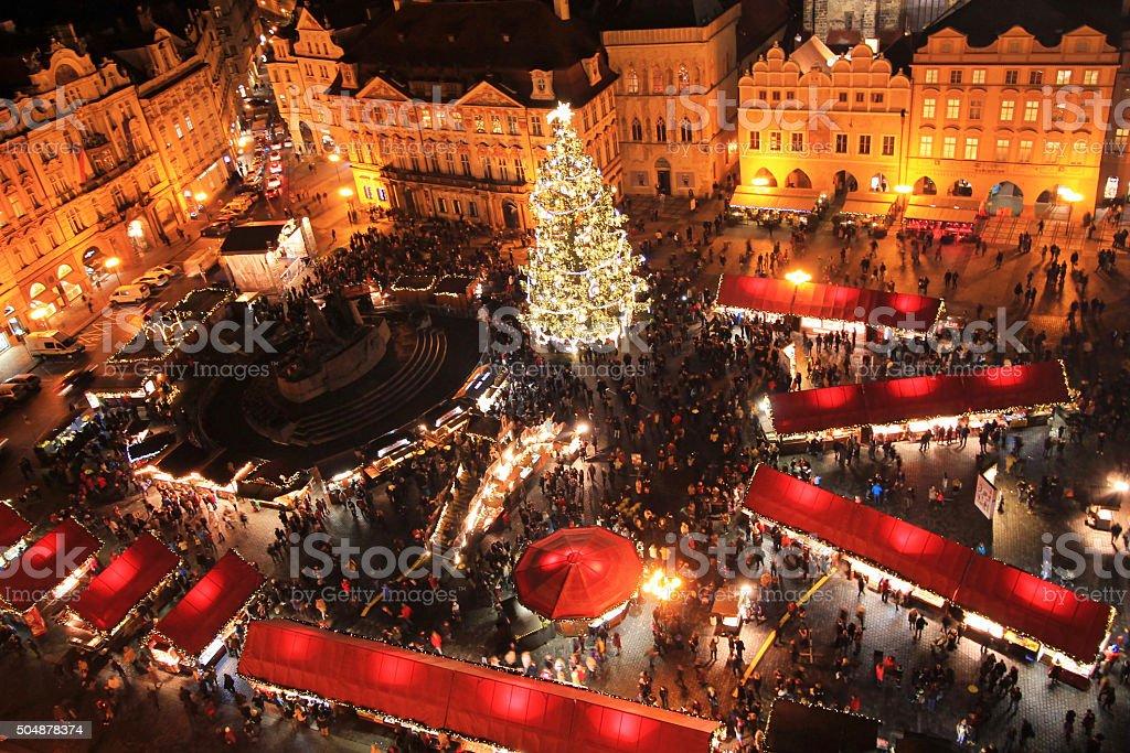 Weihnachtsmärkte in Prag Lizenzfreies stock-foto