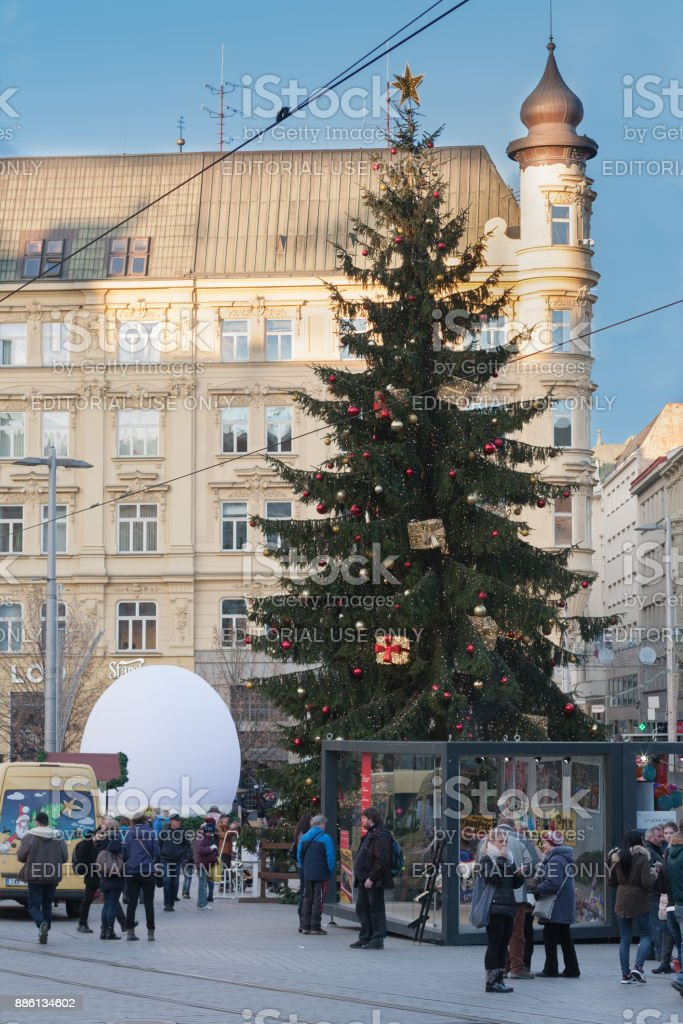 Christmas markets on Liberty Square in Brno stock photo