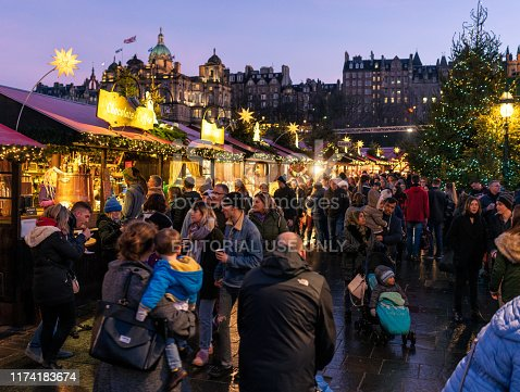 Edinburgh, Scotland - Busy market stalls in the run-up to Christmas.