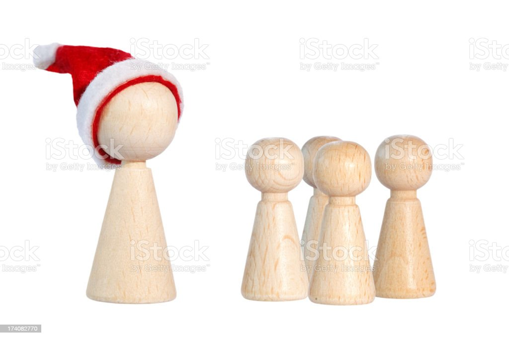 christmas meeple with children pawns stock photo