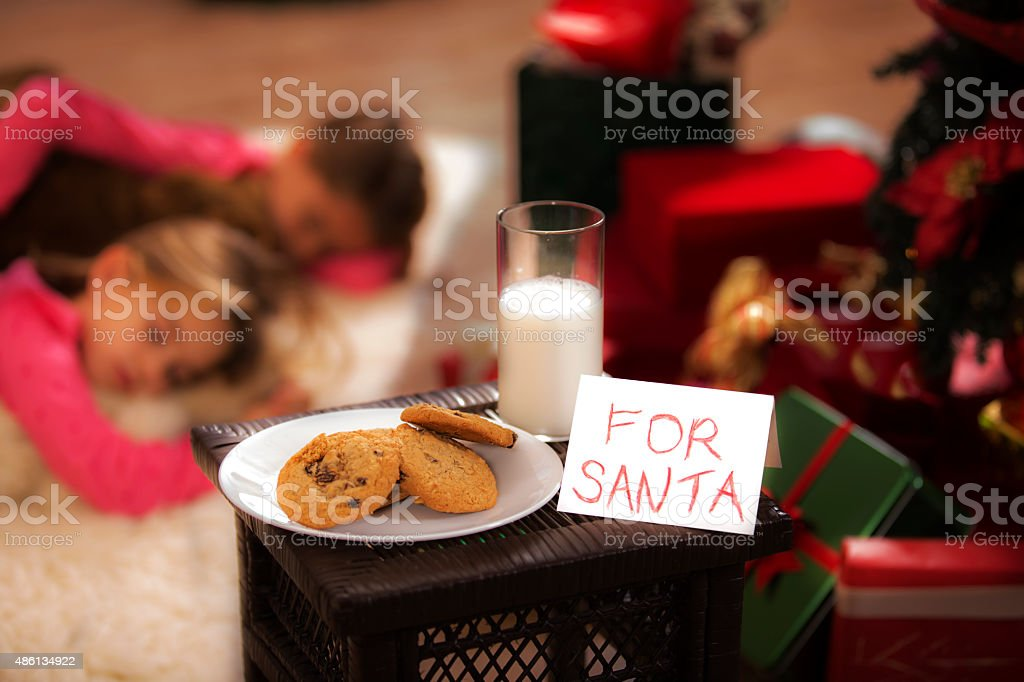 Christmas: Milk, cookies for Santa. Girls sleeping on floor. Presents. stock photo