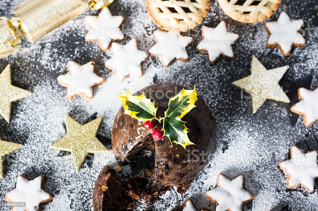 Christmas mince pies and cookies stock photo