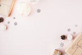 istock Christmas minimal background with copy space on pink background 1249765152