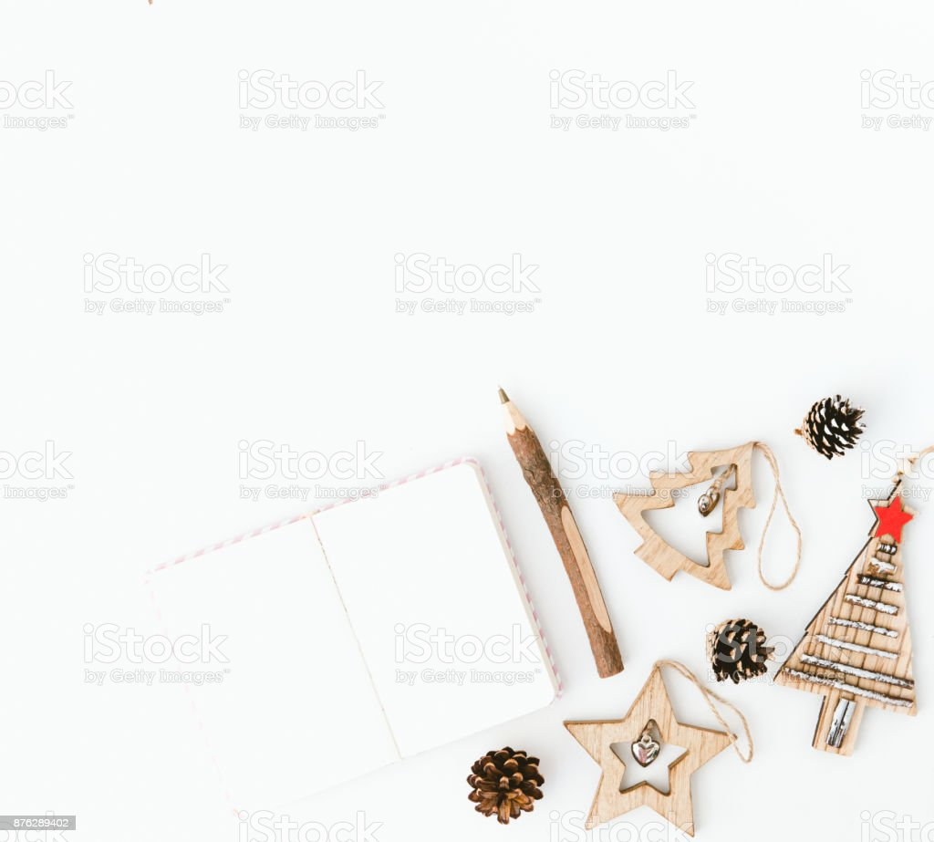 Christmas Minimal Composition With Decorations Flat Lay Copy Space