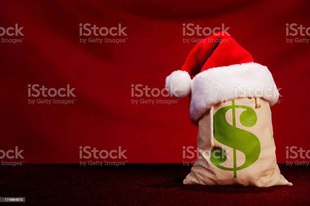 Christmas Money Bag - US Dollar royalty-free stock photo