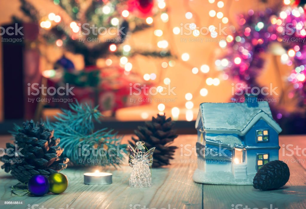 Christmas Mood With Multicolored Glowing Garland Stock Photo More