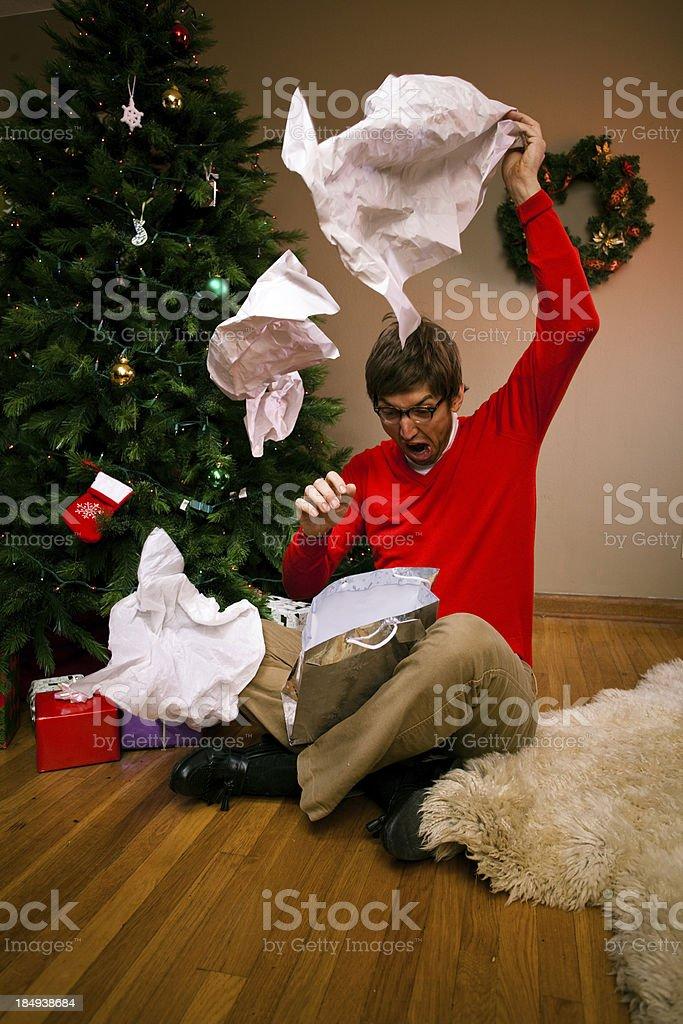 Christmas Morning Gift Bag Disaster stock photo