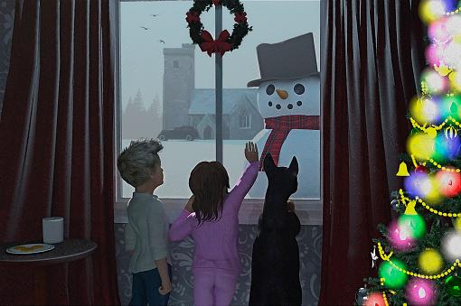 Christmas Morning Greeting 3D Render