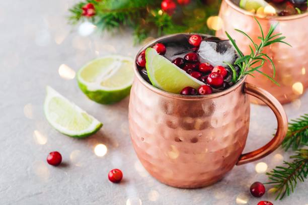 Christmas Moscow Mule ice cold Cocktail in copper cup with cranberries, lime and rosemary on stone background. Christmas Moscow Mule ice cold Cocktail in copper cup with cranberries, lime and rosemary on gray stone background. mule stock pictures, royalty-free photos & images