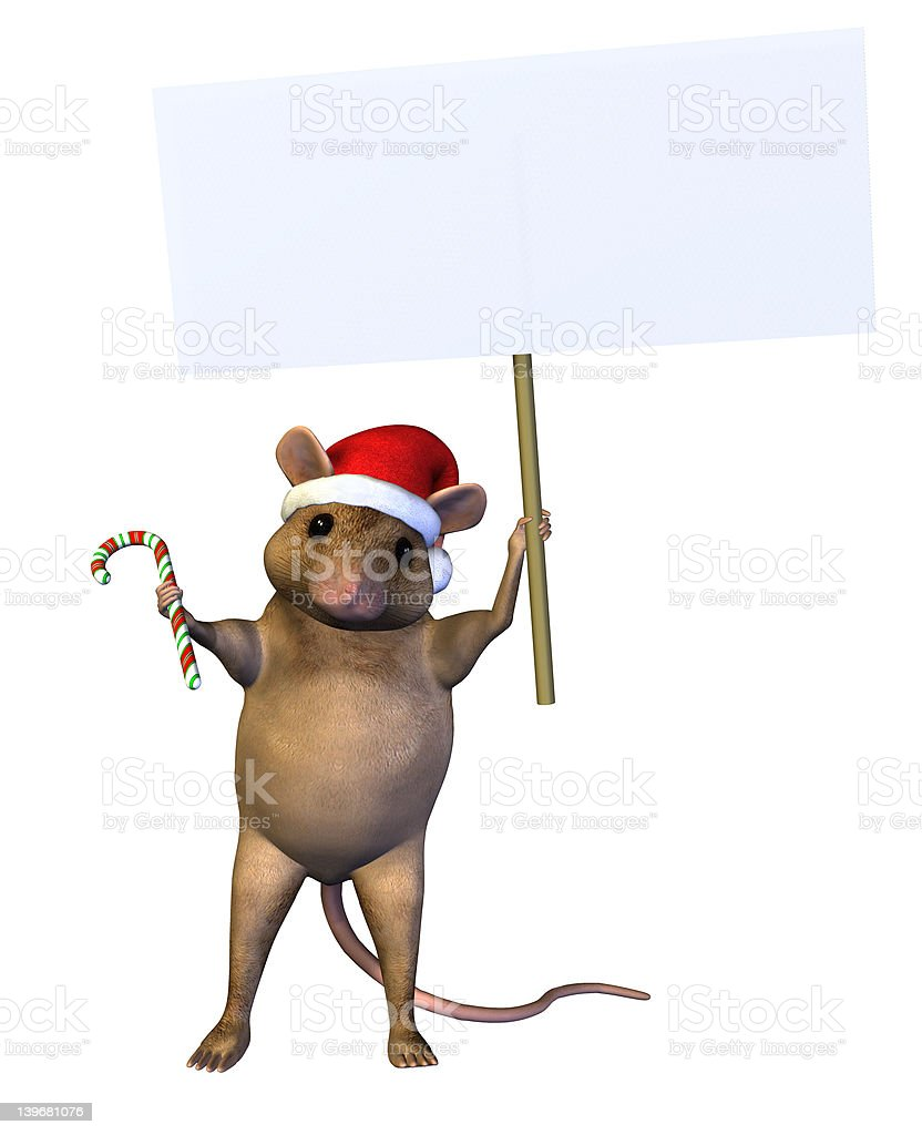 Christmas Mouse with Blank Sign - includes clipping path royalty-free stock photo
