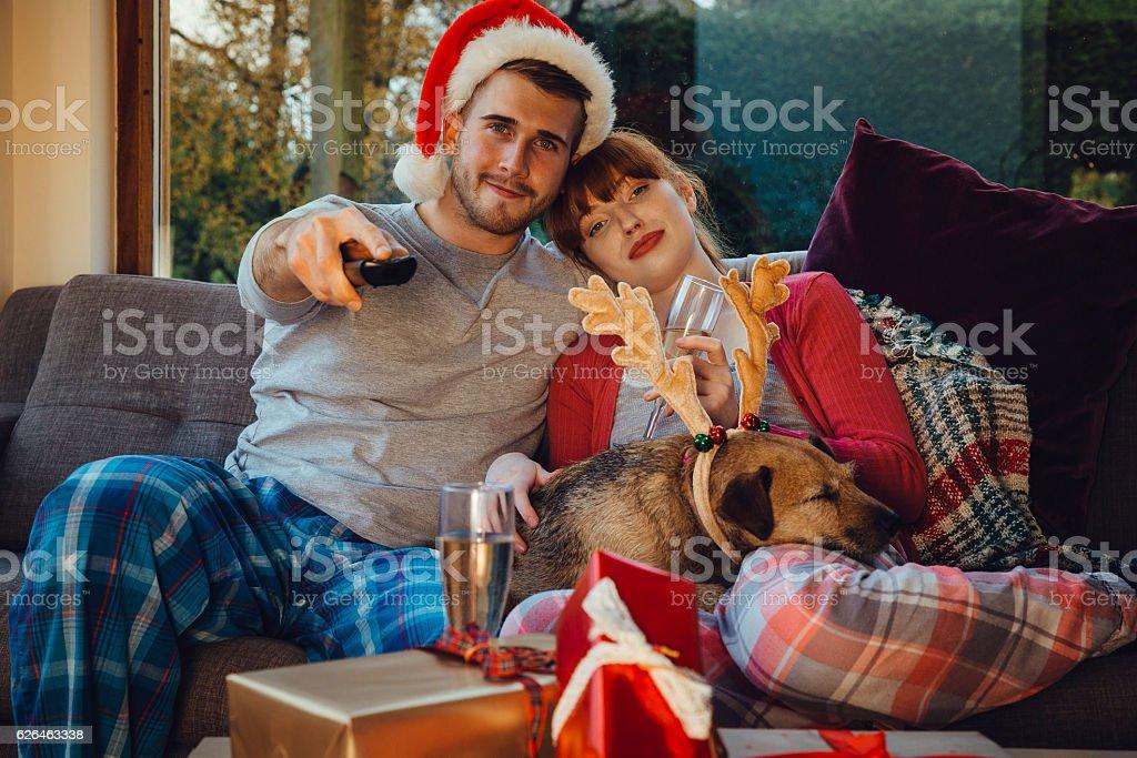 Christmas Movie Night stock photo
