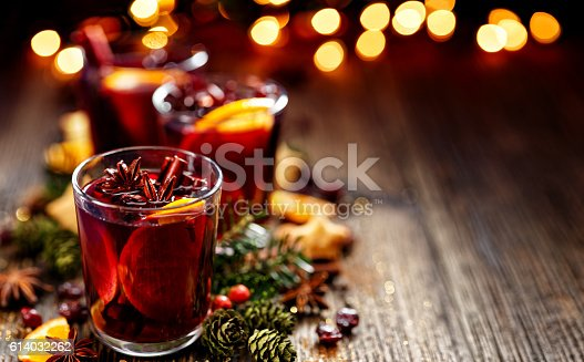 istock Christmas mulled red wine in a glass 614032262