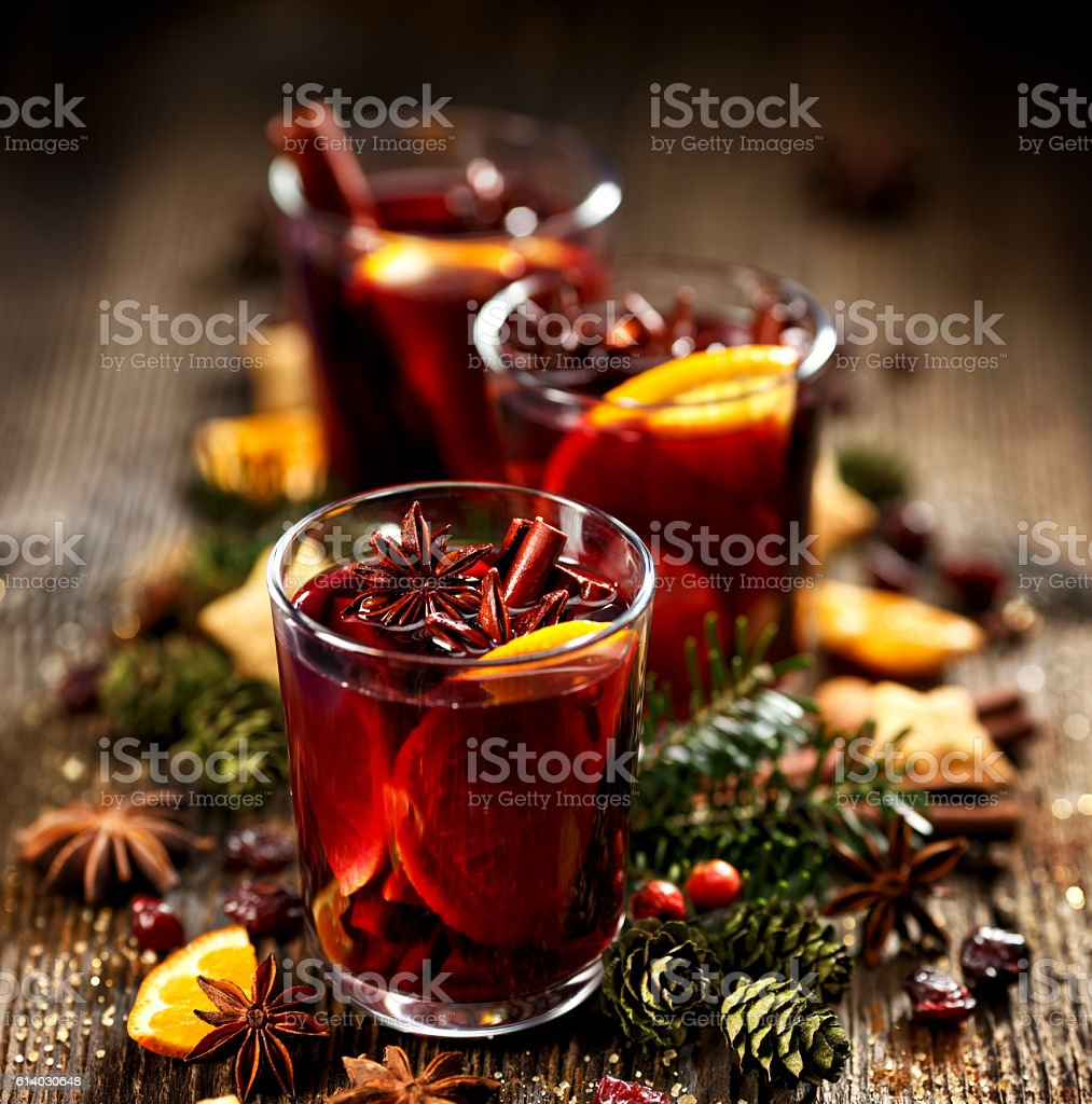 Christmas mulled red wine stock photo
