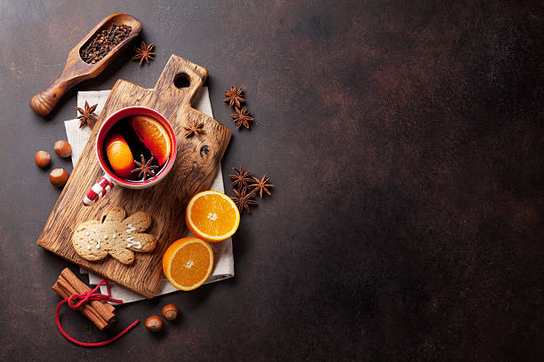 christmas mulled wine and ingredients - mulled wine stock photos and pictures