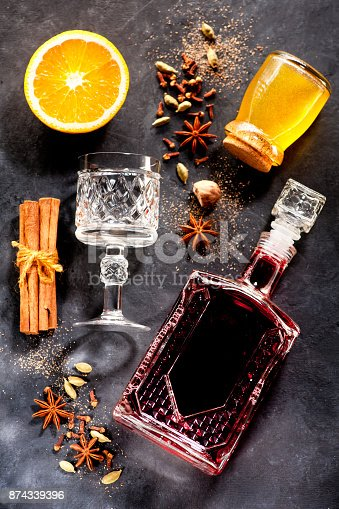 istock Christmas mulled wine with honey and spices 874339396