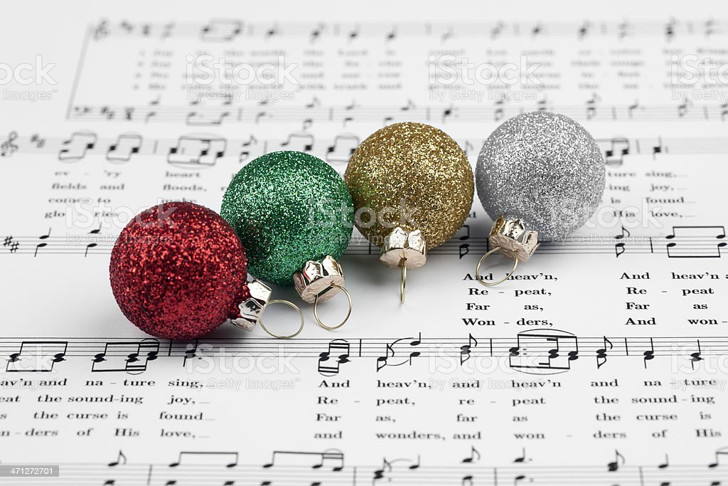 Christmas sheet music and decorations.