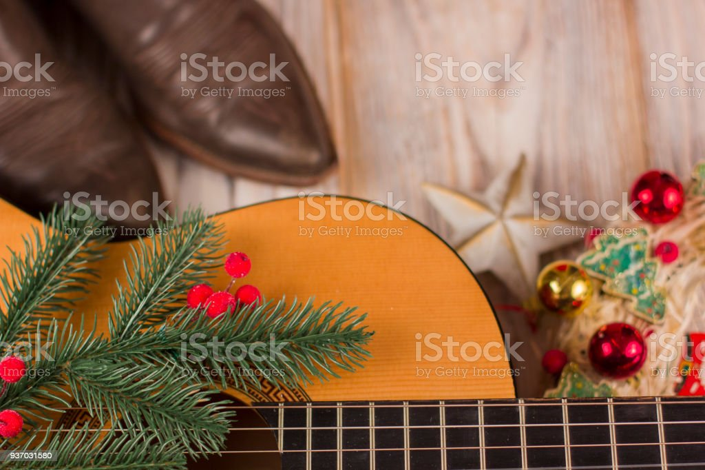 Christmas Music Background.Christmas Music Background With Acoustic Guitar Stock Photo
