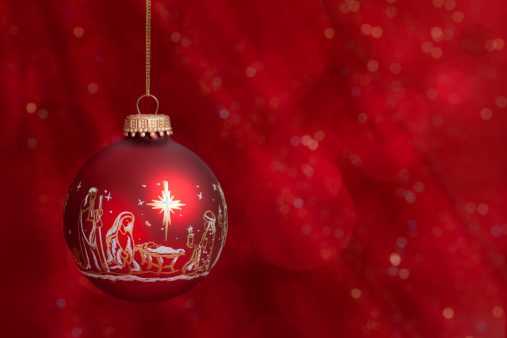Christmas Nativity Baubles on Red
