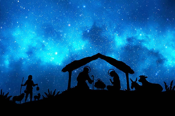 christmas nativity in the night - nativity scene stock pictures, royalty-free photos & images