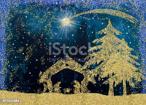 istock Christmas Nativity Scene cards. 872424384
