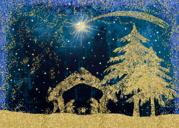 Christmas Nativity Scene cards. Christmas Nativity Scene greetings cards, abstract freehand drawing of Nativity scene with golden glitter. religious celebration stock pictures, royalty-free photos & images