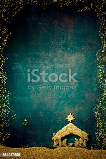 istock Christmas Nativity Scene greetings cards 881537898