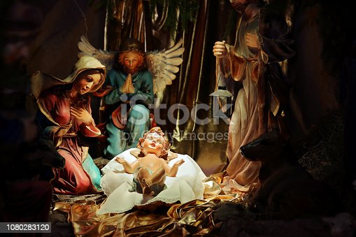 istock Christmas Nativity scene in the church 1080283120