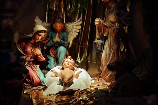 christmas nativity scene in the church - nativity scene stock pictures, royalty-free photos & images