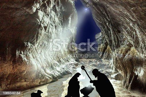 istock Christmas Nativity scene of baby Jesus in the manger, Mary and Joseph 1069346154