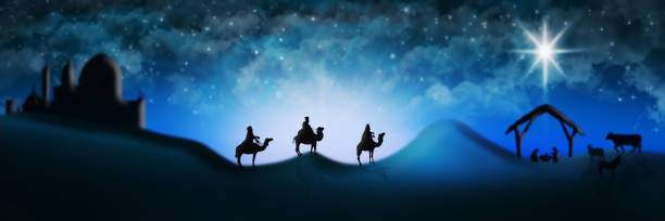 Christmas Nativity Scene Of Three Wise Men Magi Going To Meet Baby Jesus in the Manger Christmas Nativity Scene Of Three Wise Men Magi Going To Meet Baby Jesus in the Manger with the City of Bethlehem in the distance Illustration trough stock pictures, royalty-free photos & images