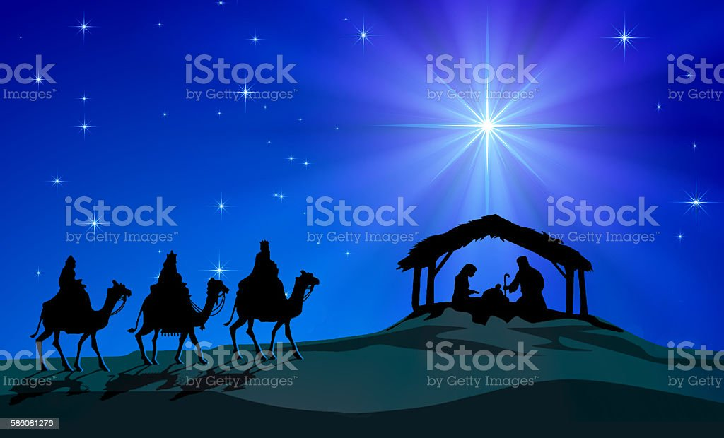 Representation of Christmas Nativity scene. Holy Family figurines are...