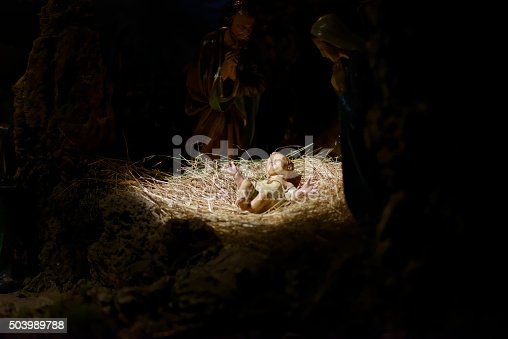 istock Christmas nativity scene represented with statuettes of Mary, Jo 503989788
