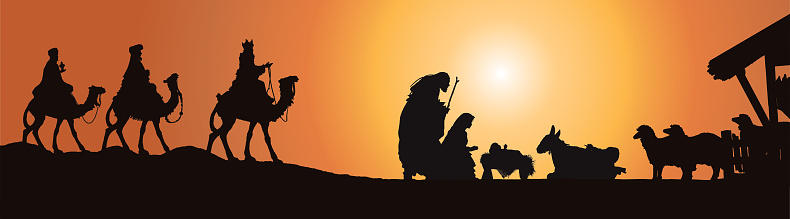 Christmas Nativity Scene, Three Wisemen in Front of Stable Isolated on White.