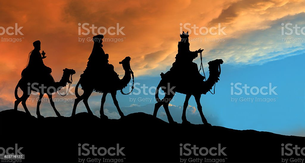 Christmas Nativity Scene, Three Wisemen Traveling stock photo