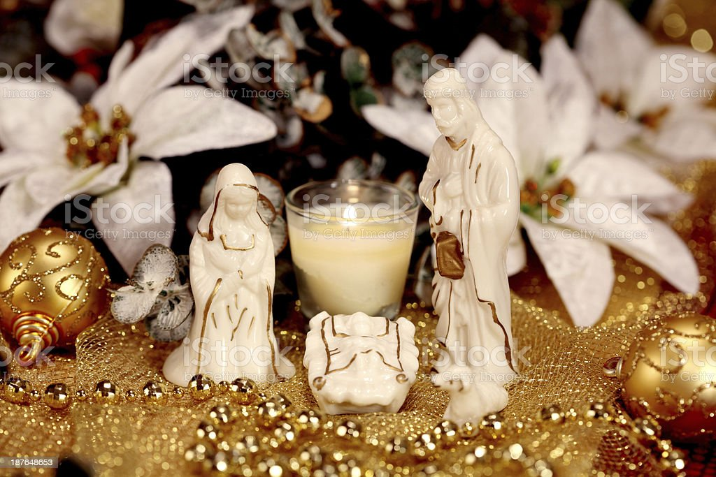 Christmas Nativity with Mary Joseph and Jesus royalty-free stock photo
