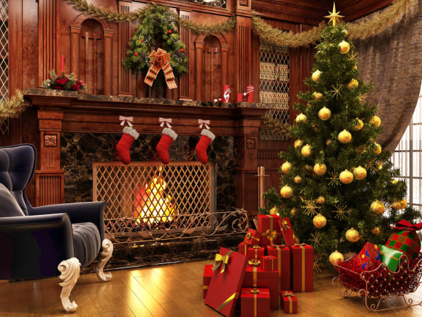 Christmas near a beautiful fireplace and a lot of gifts New years eve christmas tree stock pictures, royalty-free photos & images