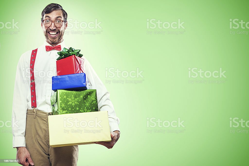Christmas Nerd with Gifts royalty-free stock photo