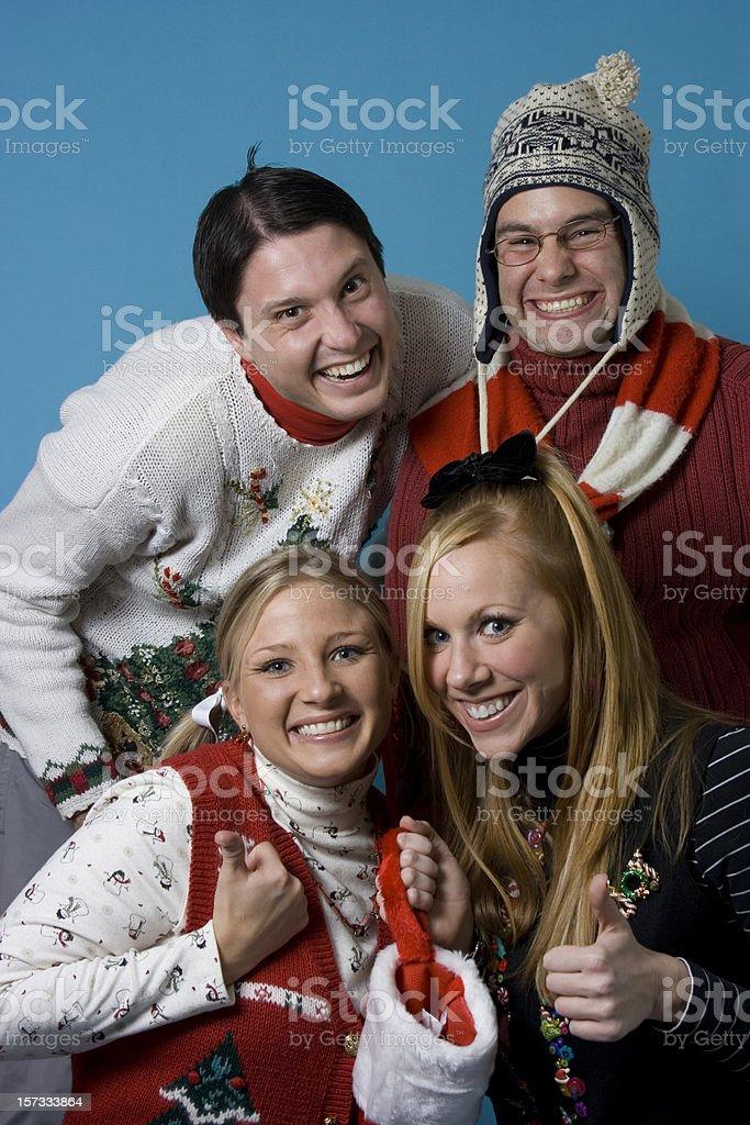 Christmas Nerds Group royalty-free stock photo