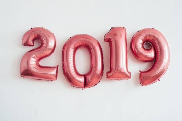 Weihnachten Neujahr 2019 Zahlen Ballons. Feier, Urlaub. – Foto