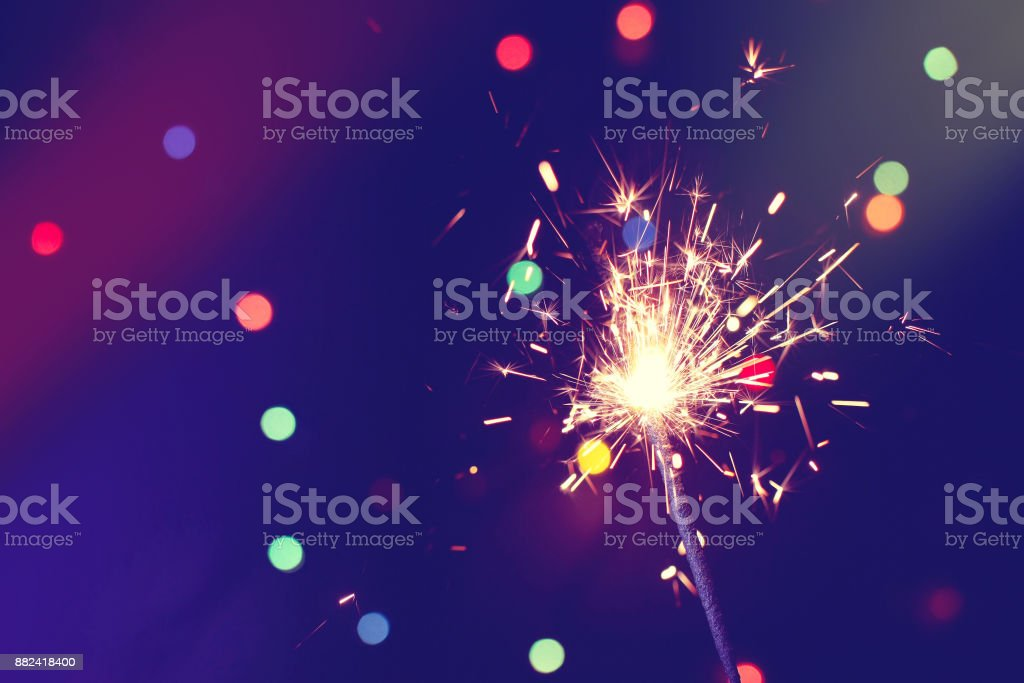christmas, new year abstract background with sparkler stock photo