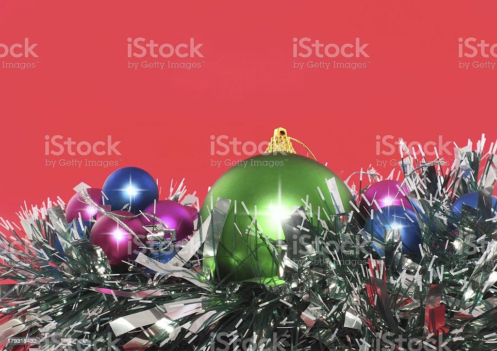 Christmas,  New Year decoration- balls, tinsel. royalty-free stock photo
