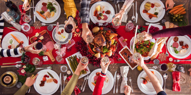 Christmas new year dinner group concept - foto stock