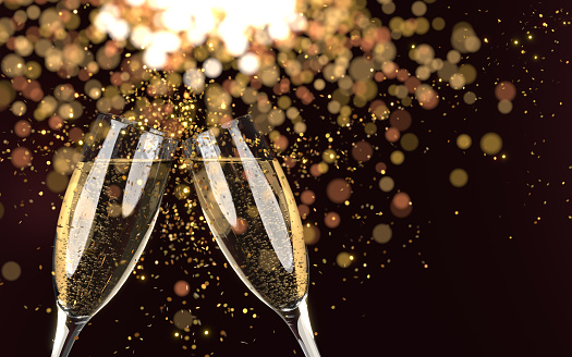 Christmas, New Year or Chinese new year greeting card background with gold glitter ornaments with champagne glasses. New year, Christmas and Chinese New Year concept. Easy to crop for all your social media or print sizes.