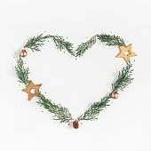 istock Christmas New  Year Heart symbol. Flat lay, top view 862045394