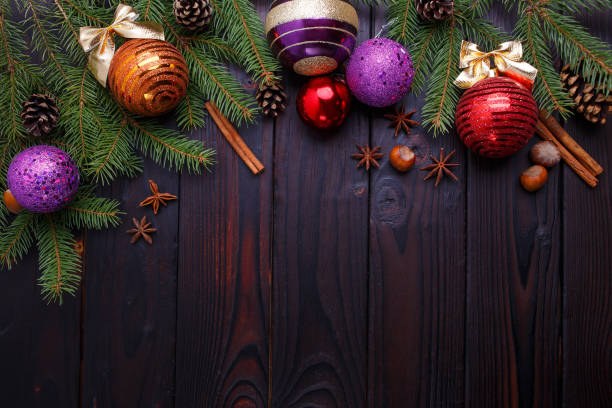 Christmas, New year holidays composition of decorations, cones, stock photo