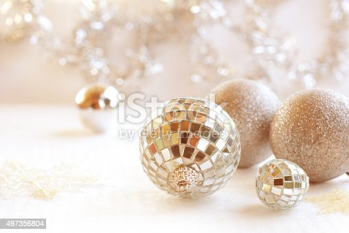 istock Christmas, New Year silver ball, snow on white silver background 497356804