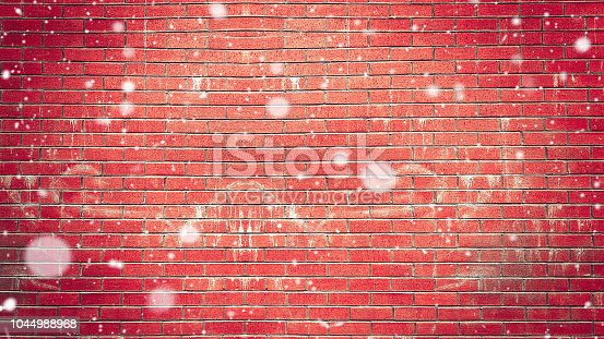 Christmas new year snowy day copy space on red brick wall background
